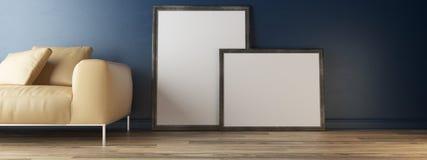 Innenplakatspott oben mit zwei Rahmen nähern sich Wand Lizenzfreie Stockbilder
