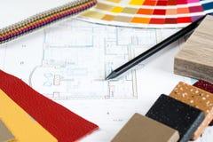 Innenprojekt mit Palette, materielle Proben, Bleistift 1 Lizenzfreie Stockfotografie