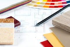 Innenprojekt mit Palette, materielle Proben, Bleistift 3 Lizenzfreie Stockbilder