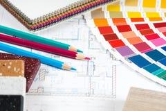 Innenprojekt mit Palette, materielle Proben, zeichnet 1 an Lizenzfreies Stockbild