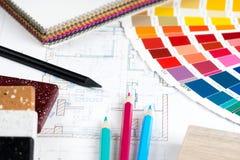 Innenprojekt mit Palette, materielle Proben, zeichnet 3 an Lizenzfreie Stockfotos