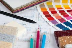Innenprojekt mit Palette, materielle Proben, zeichnet 4 an Lizenzfreie Stockfotos