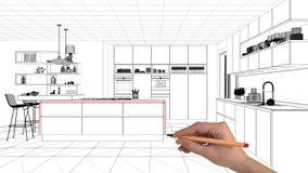 Innenprojektplanungskonzept, kundenspezifische Architektur der Handzeichnung, Schwarzweiss-Tintenskizze, Plan, der unbedeutendes  stockfotografie