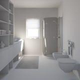 Innenraum 3D, der ein modernes Badezimmer überträgt lizenzfreie stockbilder