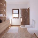 Innenraum 3D, der ein modernes Badezimmer überträgt lizenzfreies stockbild