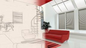 Innenraum 3D mit Hälfte in der Skizzenphase Lizenzfreie Stockfotografie