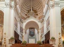 Innenraum der Basilika von St Lawrence der Märtyrer ist die Kathedrale in Trapani Lizenzfreie Stockfotos