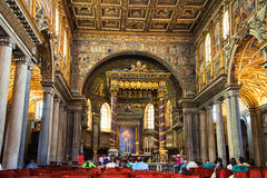 Innenraum der Basilika von St. Mary Maggiore in Rom Lizenzfreie Stockfotos