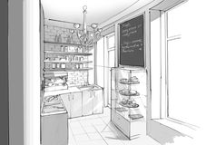 Innenraum der Caféküche Lizenzfreie Stockfotos