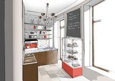 Innenraum der Caféküche Lizenzfreies Stockbild