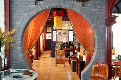 Innenraum der chinesischen Teegaststätte Stockfoto