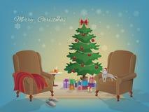 Innenraum der frohen Weihnachten mit Weihnachtsbaum, Lehnsessel, bunte Kästen mit Geschenken, Decke, Pantoffel, heiße Milch, ein  Lizenzfreies Stockbild