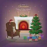 Innenraum der frohen Weihnachten und des neuen Jahres mit Kamin Lizenzfreies Stockfoto