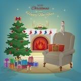 Innenraum der frohen Weihnachten und des neuen Jahres mit Kamin, Weihnachtsbaum, Lehnsessel, Kästen mit Geschenken, Kerzen, Socke Lizenzfreies Stockfoto