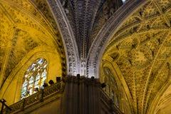 Innenraum der gotischen Kathedrale von Sevilla, Spanien, eins von den größten in der Welt Lizenzfreies Stockbild