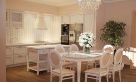 Innenraum der Küche und des Wohnzimmers in Provence-Art mit weißen Möbeln stock abbildung