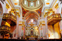 Innenraum der Kathedrale des Heiligen Nicholas in Lju Stockfotografie