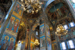 Innenraum der Kirche des Retters auf verschüttetem Blut, St Petersburg Lizenzfreie Stockfotografie
