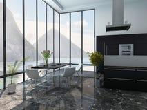 Innenraum der modernen Küche und des Esszimmers Stockfotografie