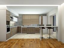 Innenraum der modernen Wiedergabe der Küche 3D stockfotografie