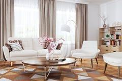 Innenraum der modernen Wiedergabe des Wohnzimmers 3d stockbild