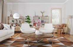 Innenraum der modernen Wiedergabe des Wohnzimmers 3d stockfotografie