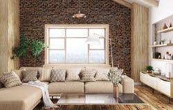 Innenraum der modernen Wiedergabe des Wohnzimmers 3d stockbilder