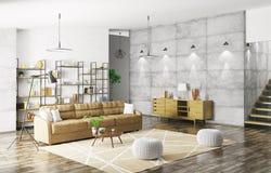 Innenraum der modernen Wiedergabe der Wohnung 3d Lizenzfreie Stockbilder