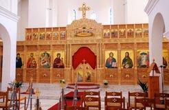 Innenraum der orthodoxen Kirche. Lizenzfreie Stockfotos