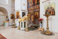 Innenraum der russischen orthodoxen Kirche Stockbild