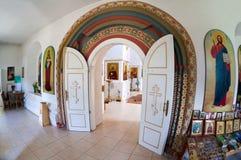 Innenraum der russischen orthodoxen Kirche Stockfoto