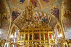 Innenraum der russischen orthodoxen Kirche Lizenzfreie Stockfotos