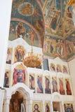Innenraum der russischen orthodoxen Kirche. Stockfotos