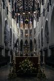 Innenraum der schönen späten gotischen Kathedrale Stockfotos