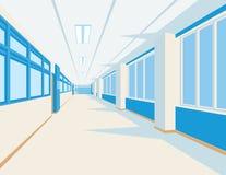 Innenraum der Schulhalle in der flachen Art Vector Illustration des Hochschul- oder Collegekorridors mit Fenstern Stockfotografie
