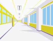 Innenraum der Schulhalle in der flachen Art Vector Illustration des Hochschul- oder Collegekorridors mit Fenstern Stockbild