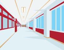 Innenraum der Schulhalle in der flachen Art Vector Illustration des Hochschul- oder Collegekorridors mit Fenstern Lizenzfreie Stockfotos