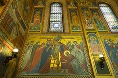 Innenraum der serbischen orthodoxen Kirche in Zagreb, Kroatien Stockfotos
