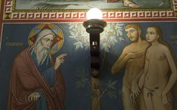 Innenraum der serbischen orthodoxen Kirche in Zagreb, Kroatien Lizenzfreies Stockfoto