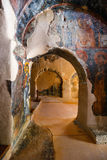 Innenraum der three-aisled byzantinischen Kirche Panagia Kera im Dorf Kritsa, Kreta, Griechenland Lizenzfreie Stockfotos