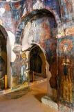 Innenraum der three-aisled byzantinischen Kirche Panagia Kera im Dorf Kritsa, Kreta, Griechenland Stockfotos