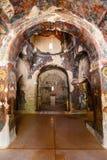Innenraum der three-aisled byzantinischen Kirche Panagia Kera im Dorf Kritsa, Kreta, Griechenland Lizenzfreie Stockbilder
