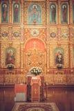 Innenraum der ukrainischen orthodoxen Kirche Stockfoto