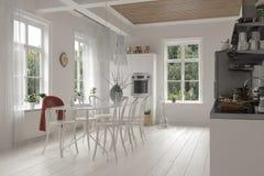 Innenraum der weißen Großraumküche und des Esszimmers Stockfoto