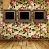 Innenraum des alten Raumes mit ehemaligen Überresten von Luxus Lizenzfreie Stockfotografie