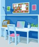 Innenraum des Arbeitsplatzes in der Karikaturart perspektive Innenministerium in der blauen Farbe Lizenzfreie Stockfotos