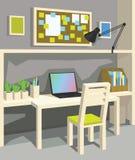 Innenraum des Arbeitsplatzes in der Karikaturart perspektive Innenministerium in Grey Color Stockfotos