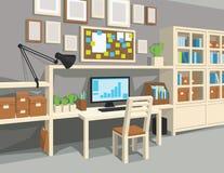 Innenraum des Arbeitsraums in der Karikaturart Stockfoto