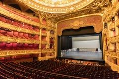 Innenraum des Auditoriums des Palais Garnier, Paris lizenzfreies stockbild