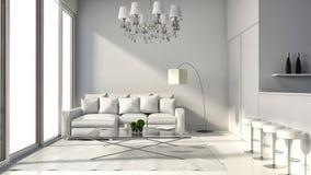 Innenraum des Dachbodens des modernen Designs mit Lampe, Sofa und Stange 3D I Lizenzfreies Stockfoto